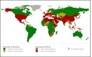 Comparación del consumo de recursos disponibles de cada país en un año. Fijaos como los países con mayor densidad tienen un déficit más alto (más rojo).